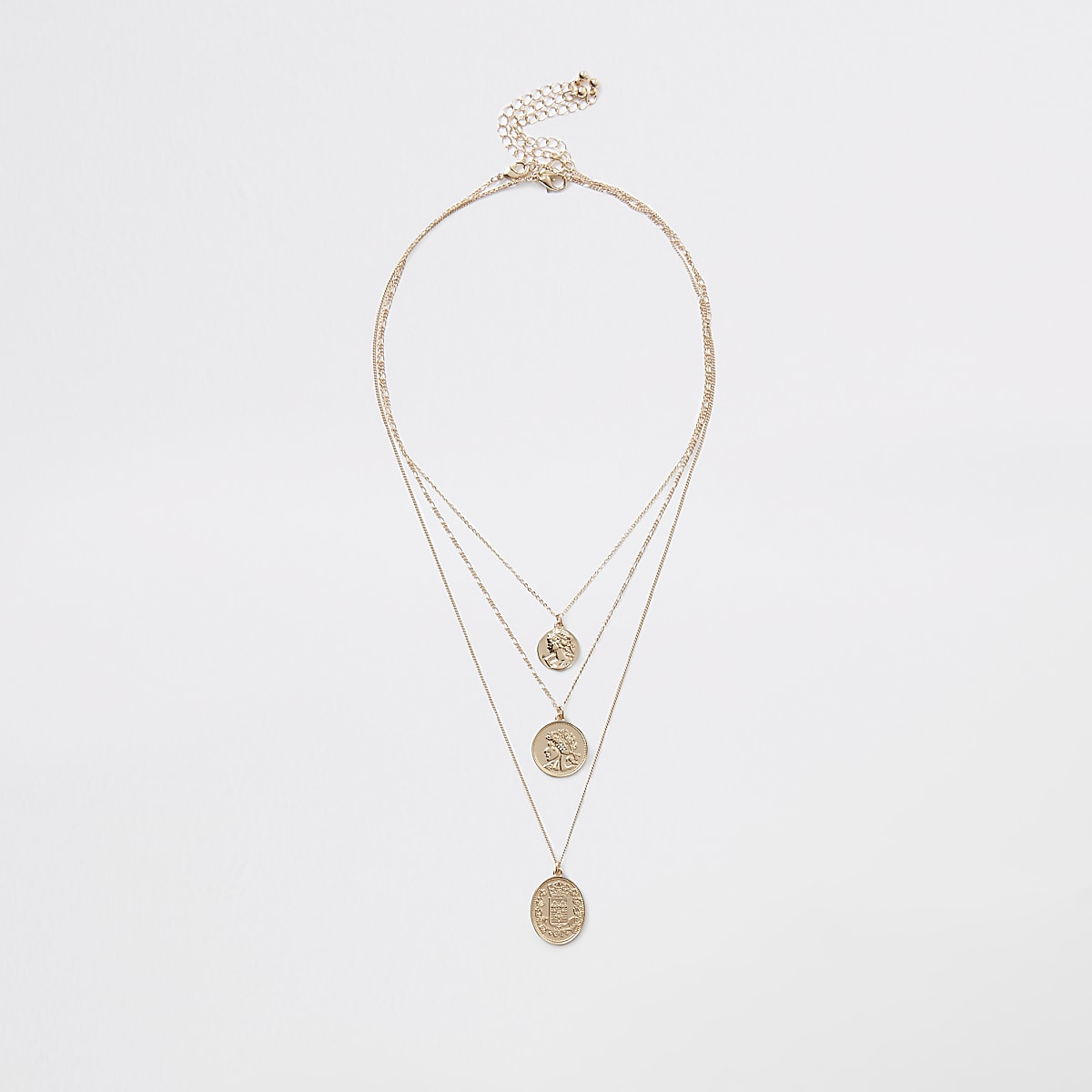 Gold color layered coin necklace