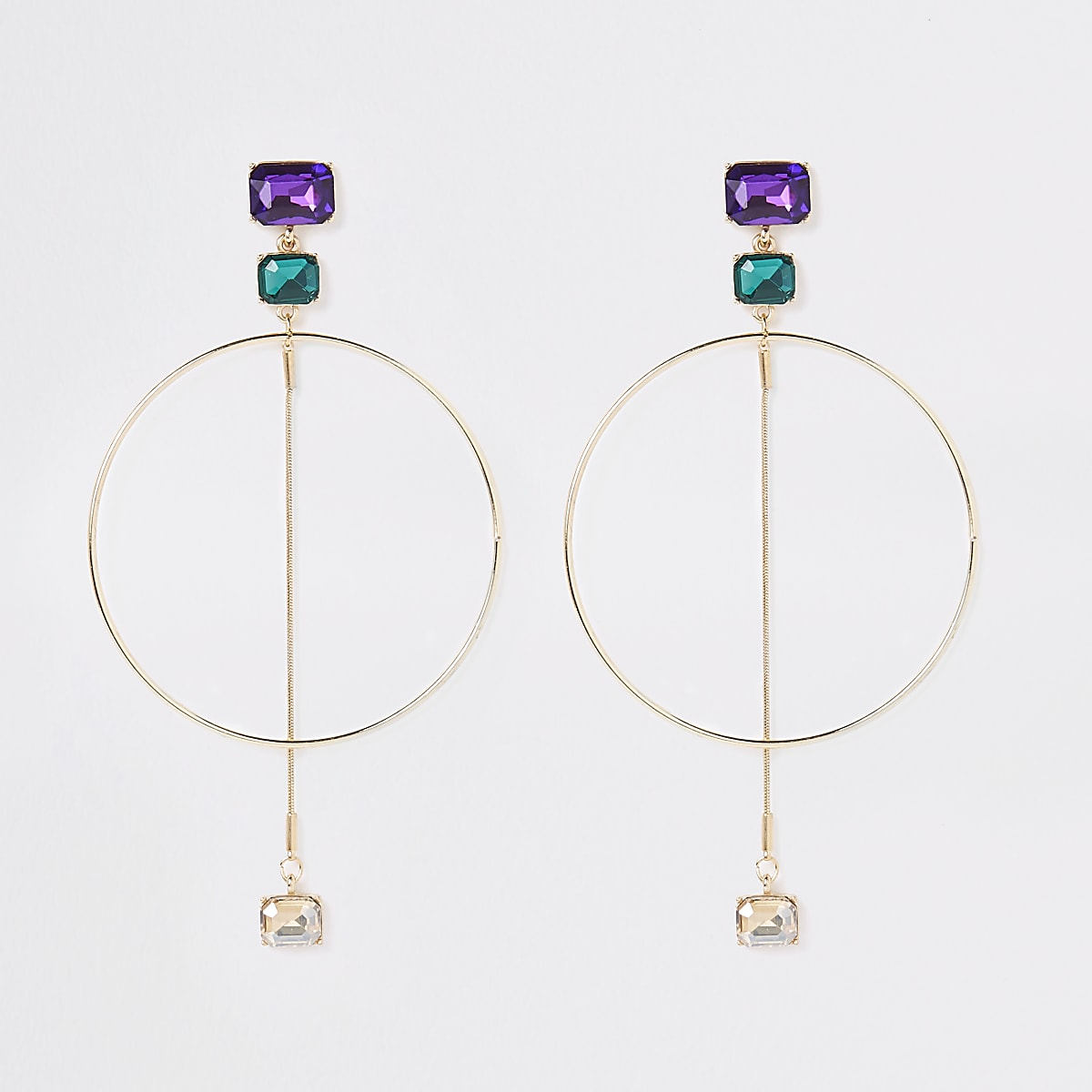 Gold tone jewel hoop drop earrings
