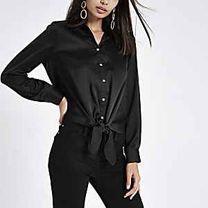 Black satin tie front button-up shirt