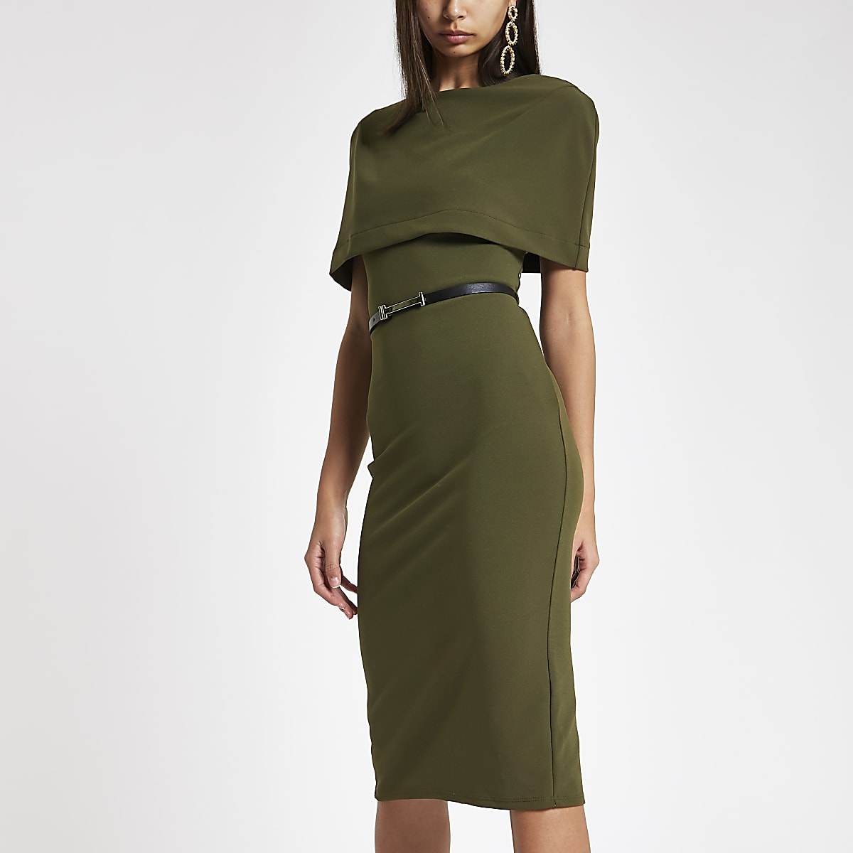 Khaki cape belted bodycon midi dress