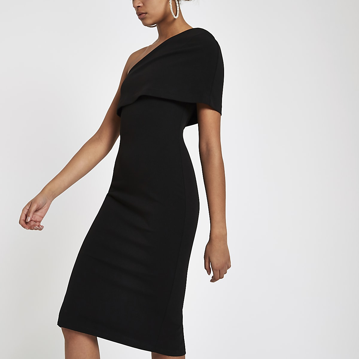 Black one shoulder cape bodycon dress