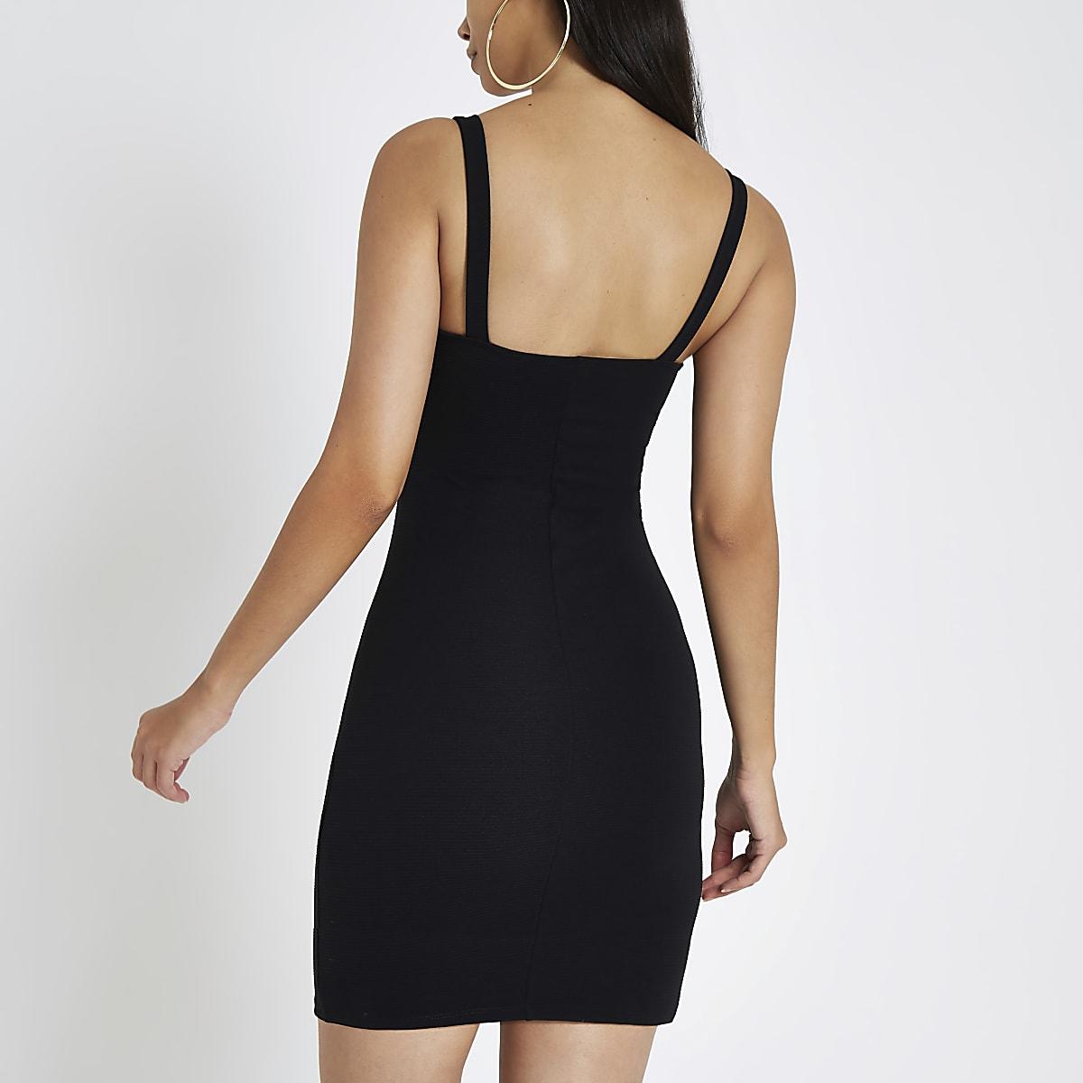 732e951947f Black buckle strap bodycon mini dress - Bodycon Dresses - Dresses ...