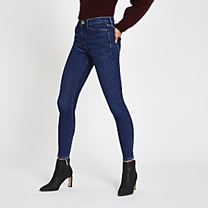 Molly - Donkerblauwe skinny jegging met halfhoge taille