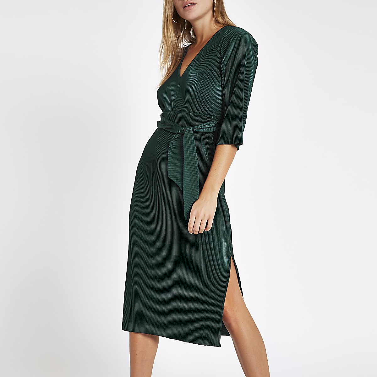 Dark green tie waist plisse midi dress
