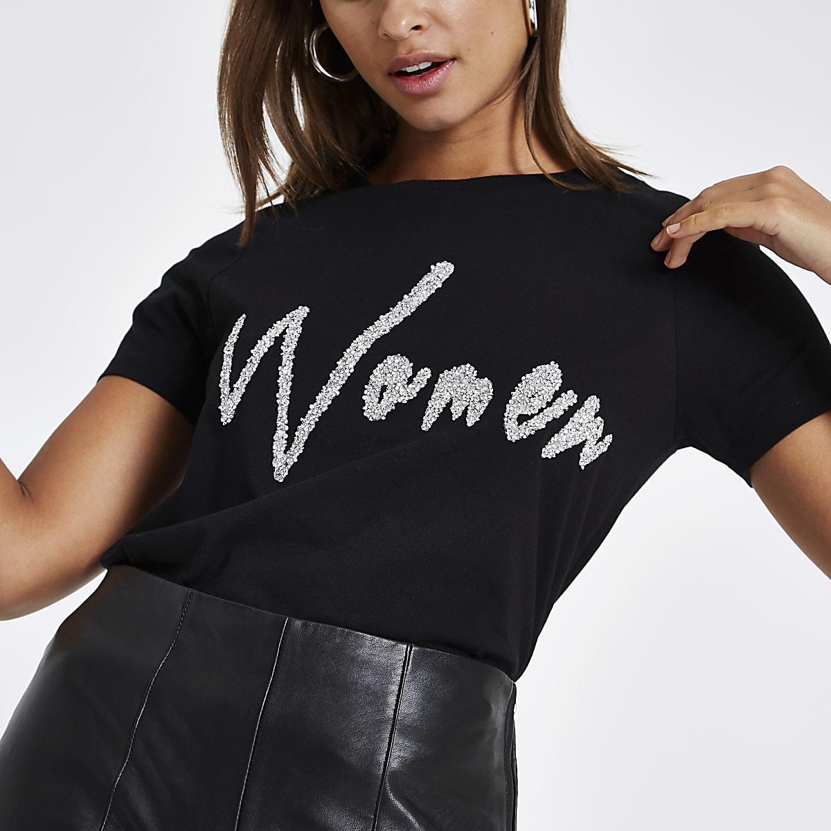 Black 'women' diamante embellished T-shirt
