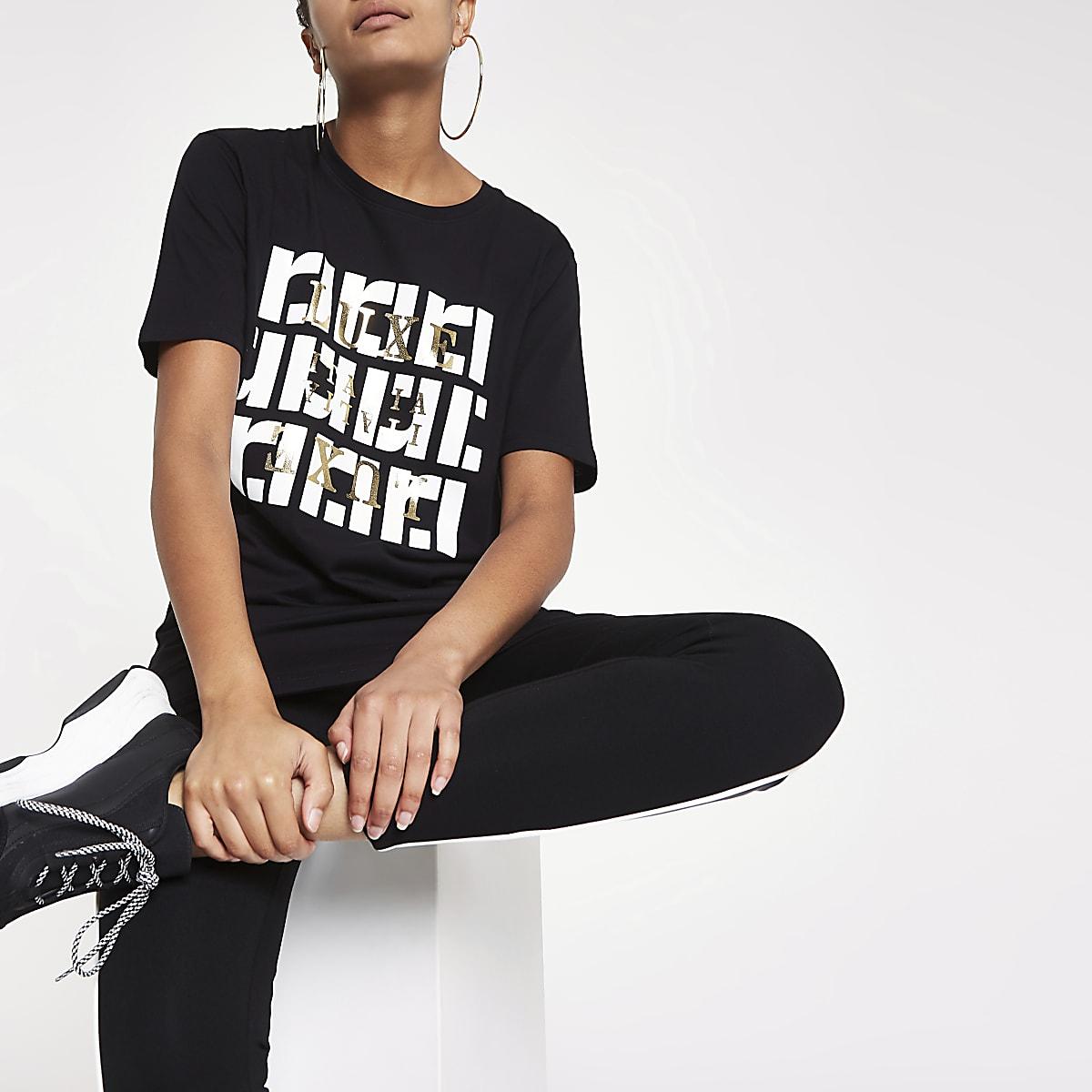 Black RI print crew neck T-shirt