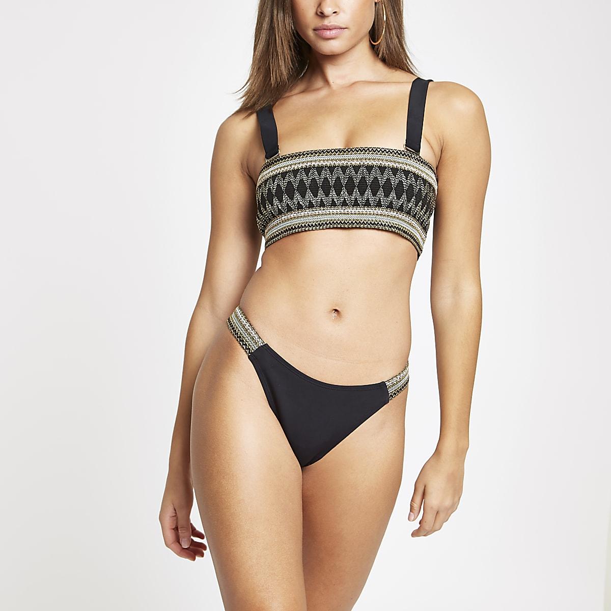 Black metallic high leg bikini bottoms