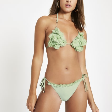 Green ruffle tie side bikini bottoms