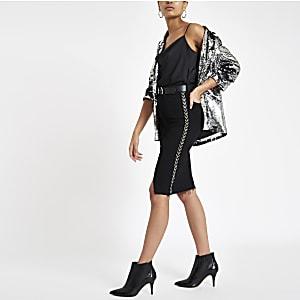 Black embellished denim pencil skirt