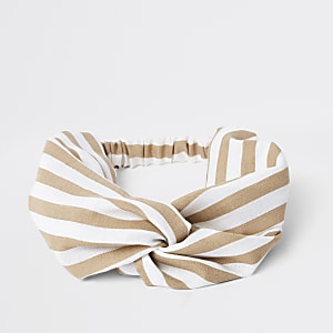 Beige stripe print wide twist headband