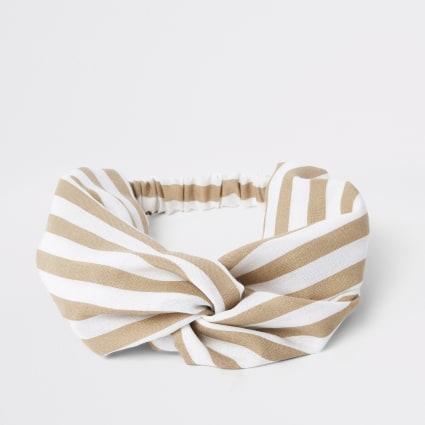 Beige stripe print wide twist headband