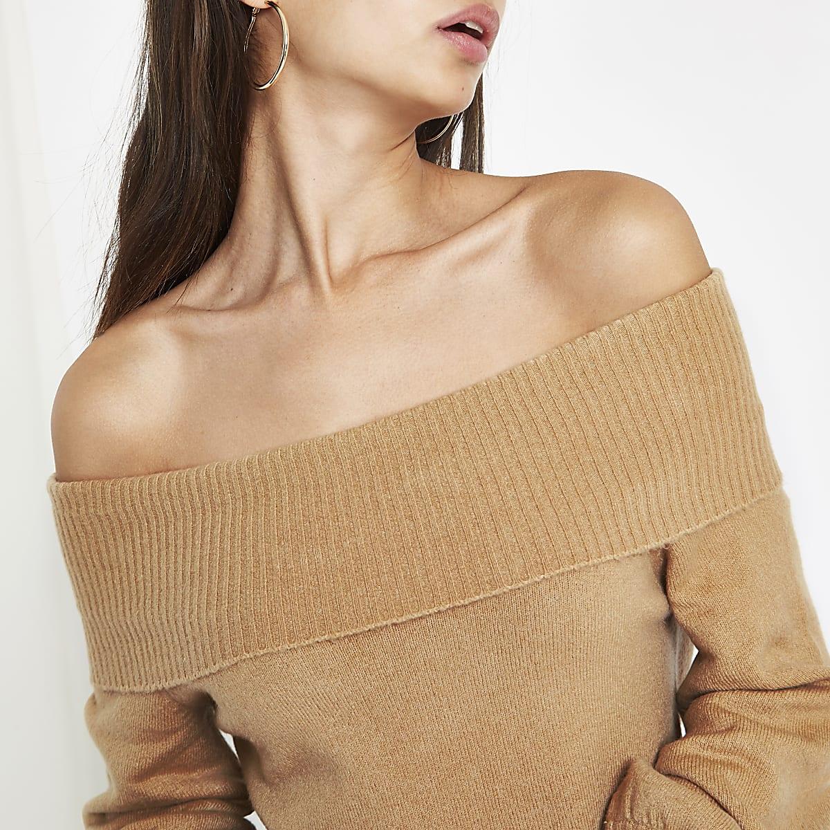 Beige knit bardot sweater