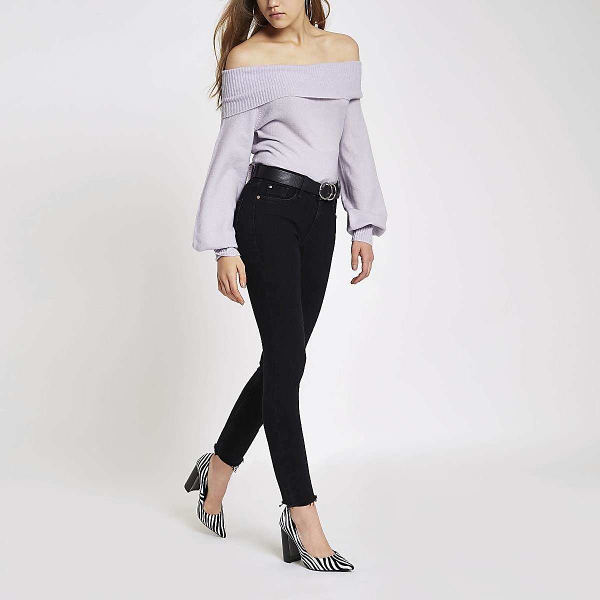 Lilac knit bardot sweater