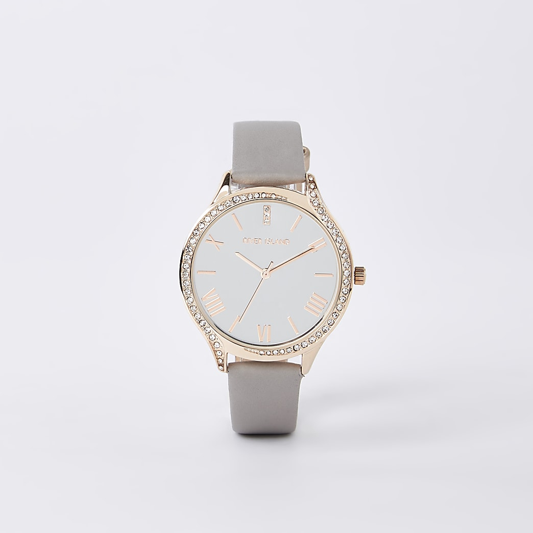 Grey rose gold colour diamante face watch