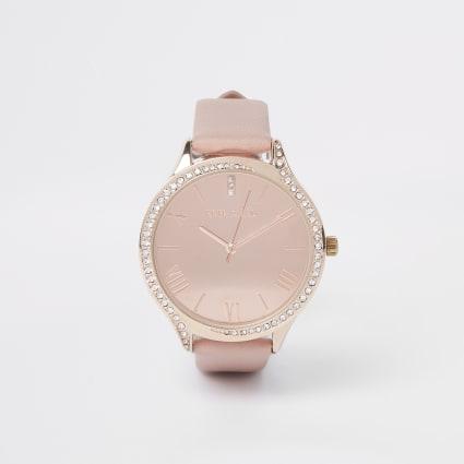 Pink rose gold colour diamante face watch