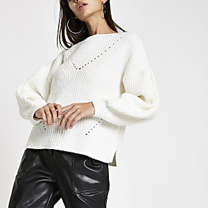 Cream luxe puff sleeve knit jumper
