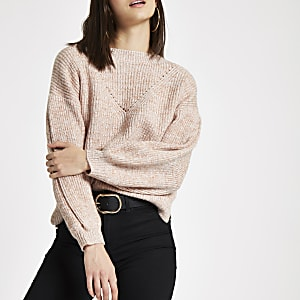 Pink luxe puff sleeve knit sweater