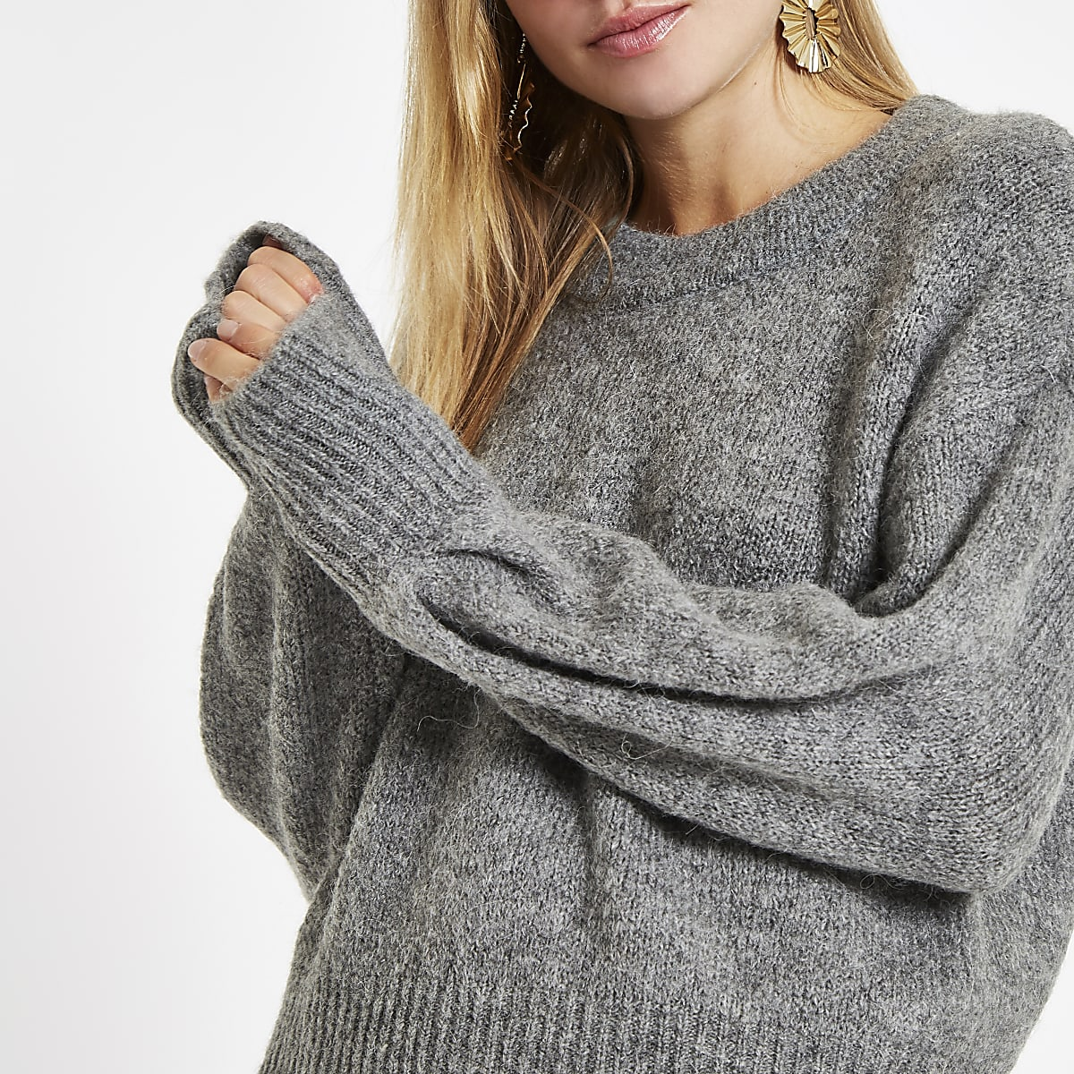 Grey luxe crew neck knit sweater