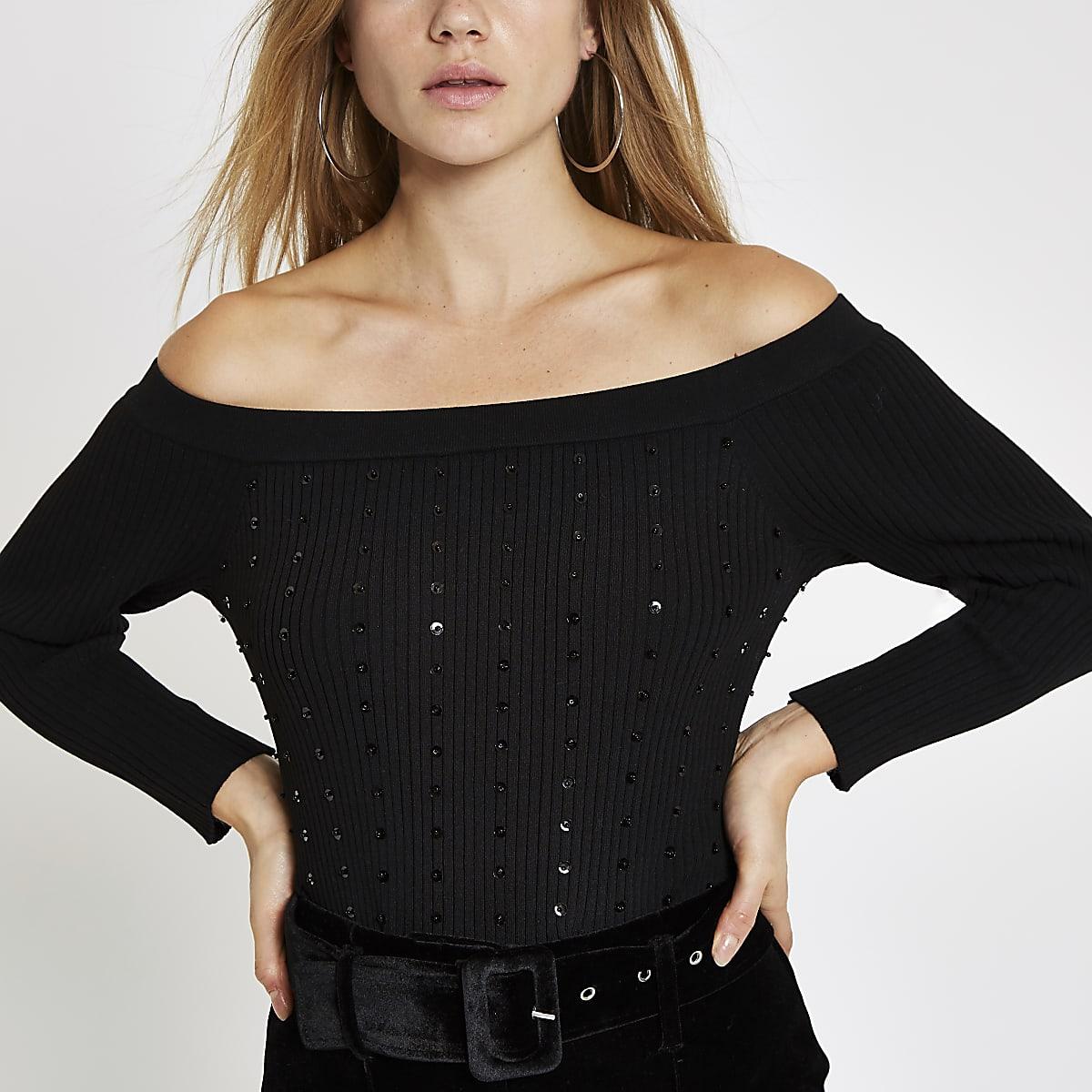 Black knit sequin long sleeve bardot top