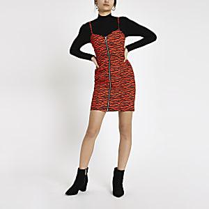 Red zebra print denim bodycon dress