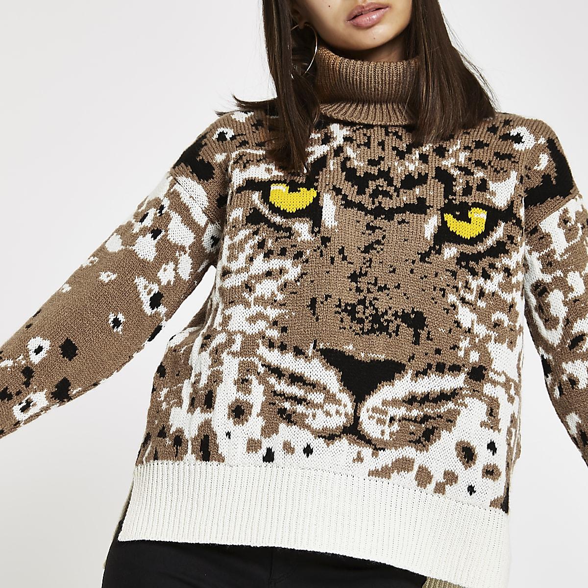 Brown tiger face print roll neck knit jumper