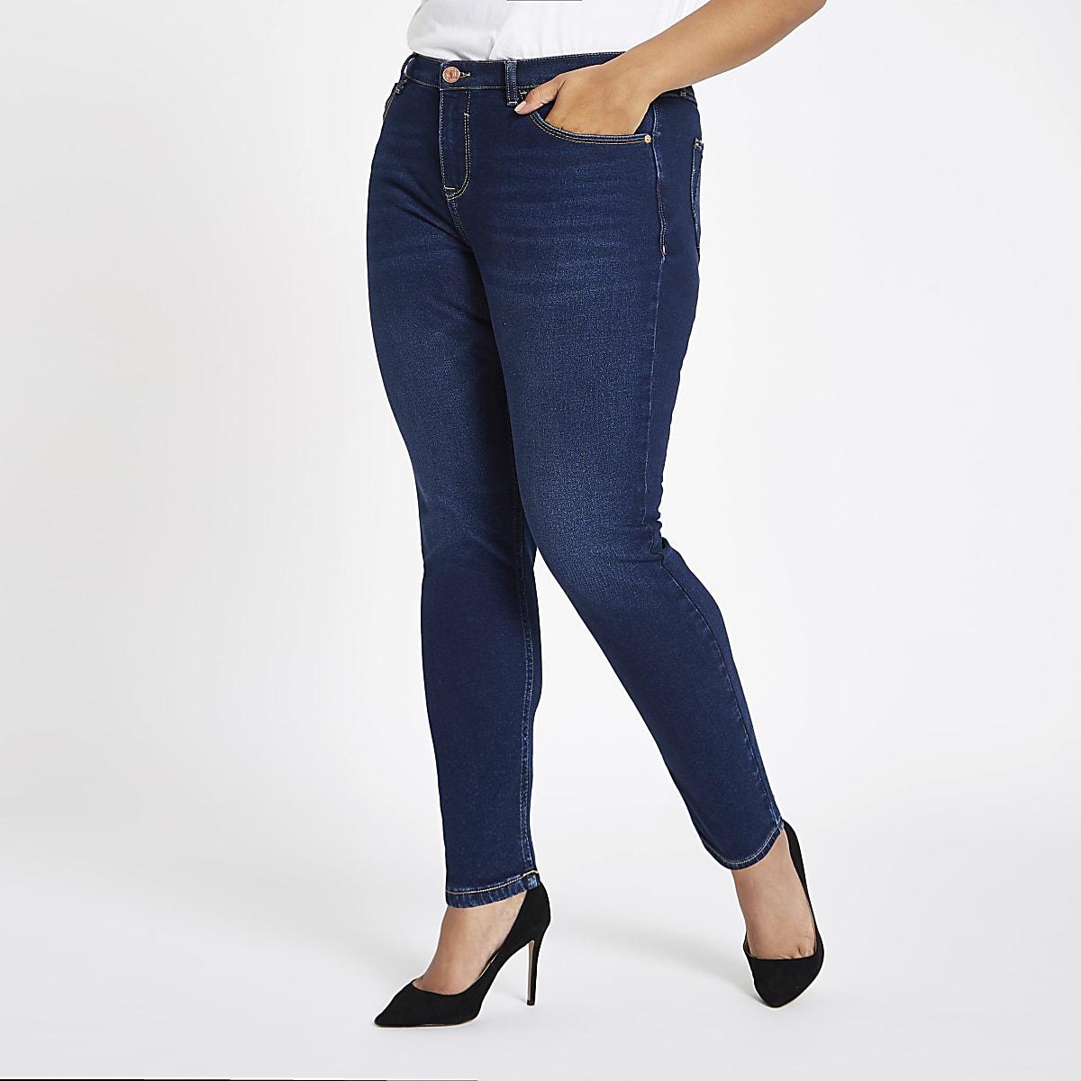 RI Plus - Alannah - Blauwe skinny jeans met halfhoge taille