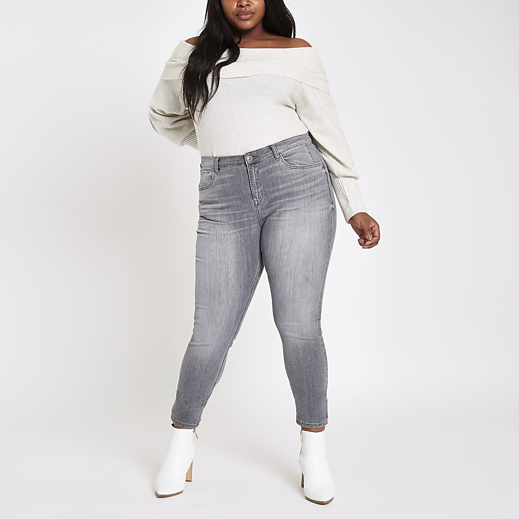 Plus grey Alannah mid rise skinny jeans