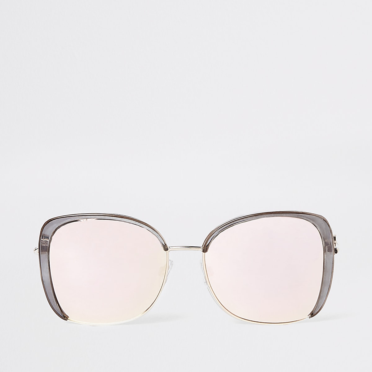 Grey mirrored lens glam sunglasses