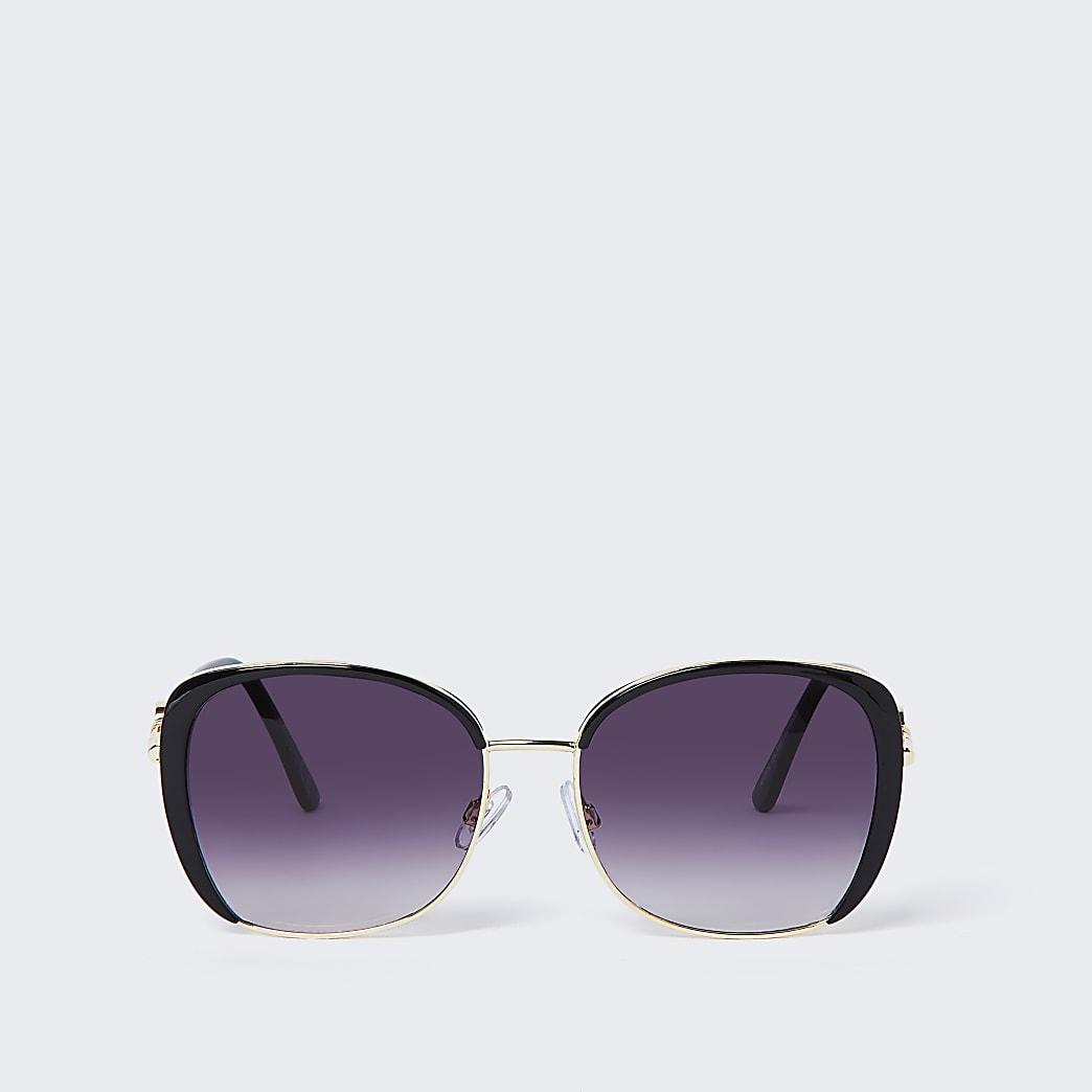Zwarte glamour zonnebril met glazen in de kleur smoke