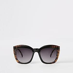 Bruine vierkante glamoureuze zonnebril met schildpadmotief