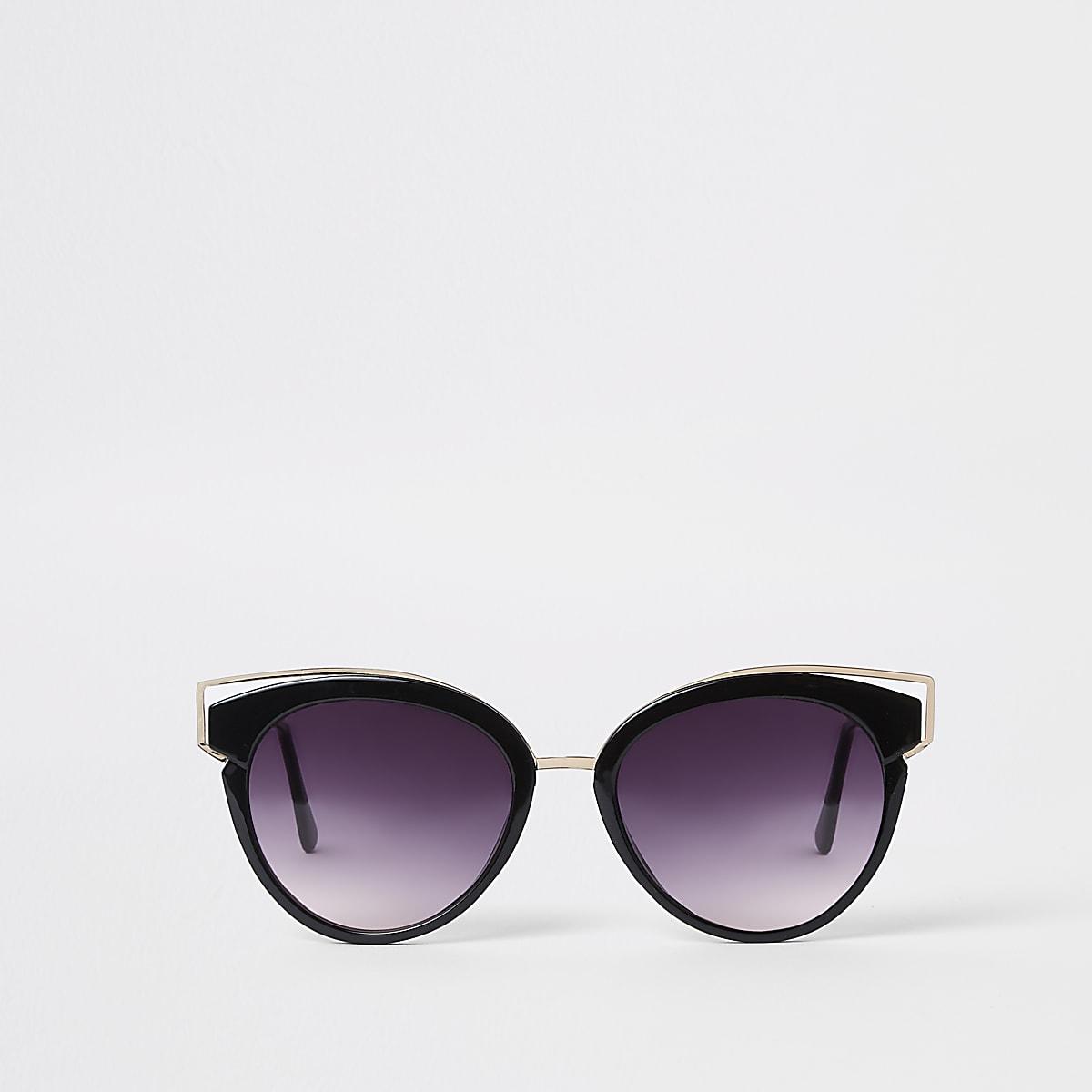 Zwarte cat eye-zonnebril met en getinte glazen