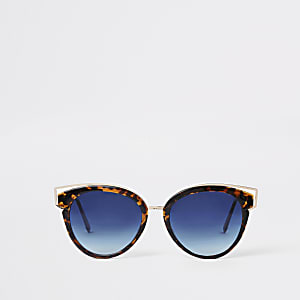 Brown tortoise shell blue lens sunglasses