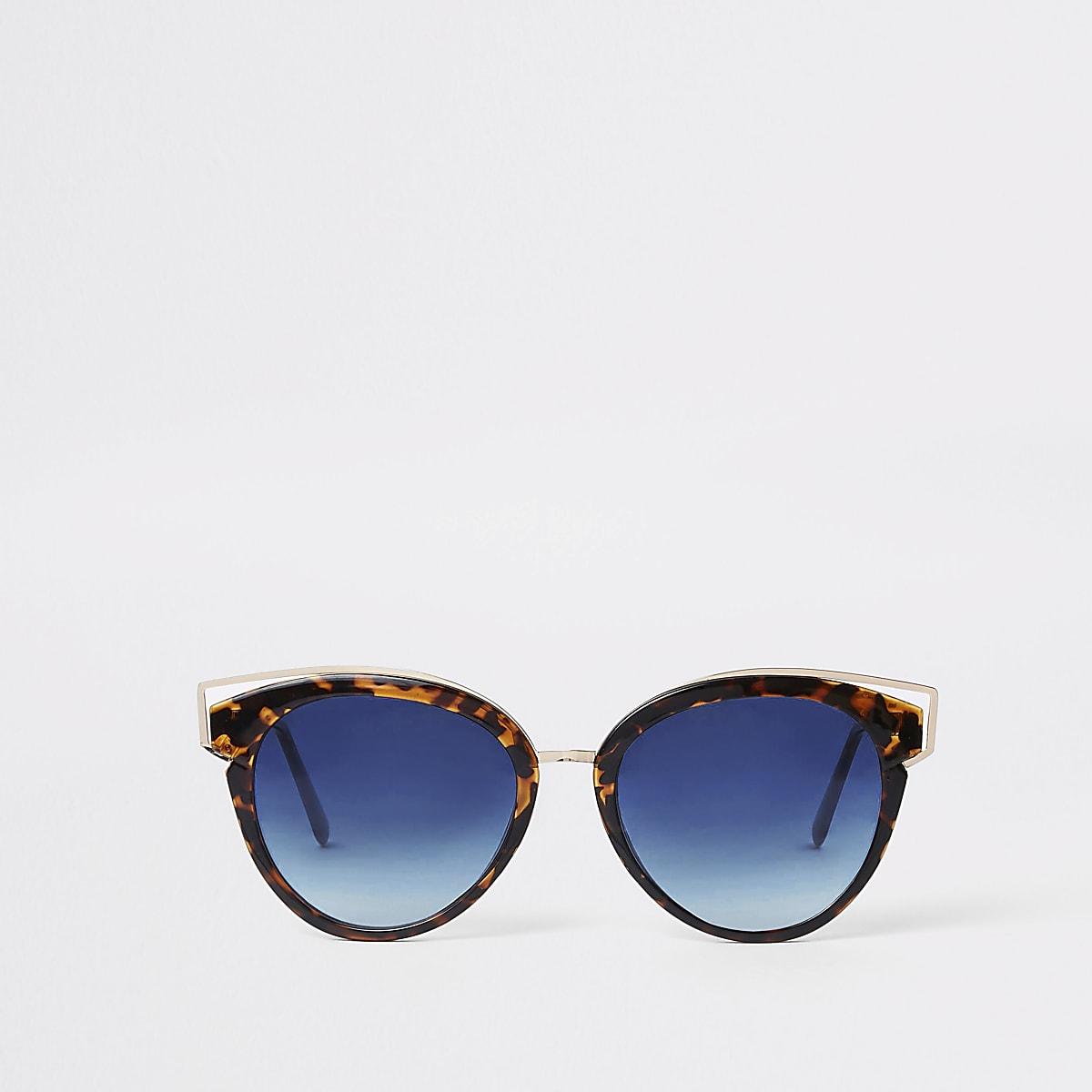 Bruine zonnebril met tortoise-effect en blauwe glazen