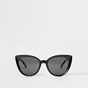 Lunettes de soleil œil de chat noires à verres fumés
