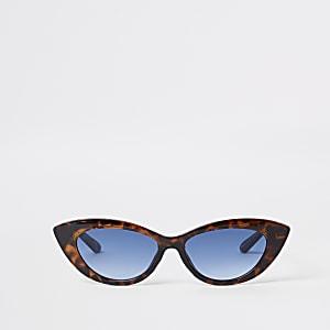 Braune Visor-Sonnenbrille aus Schildpatt