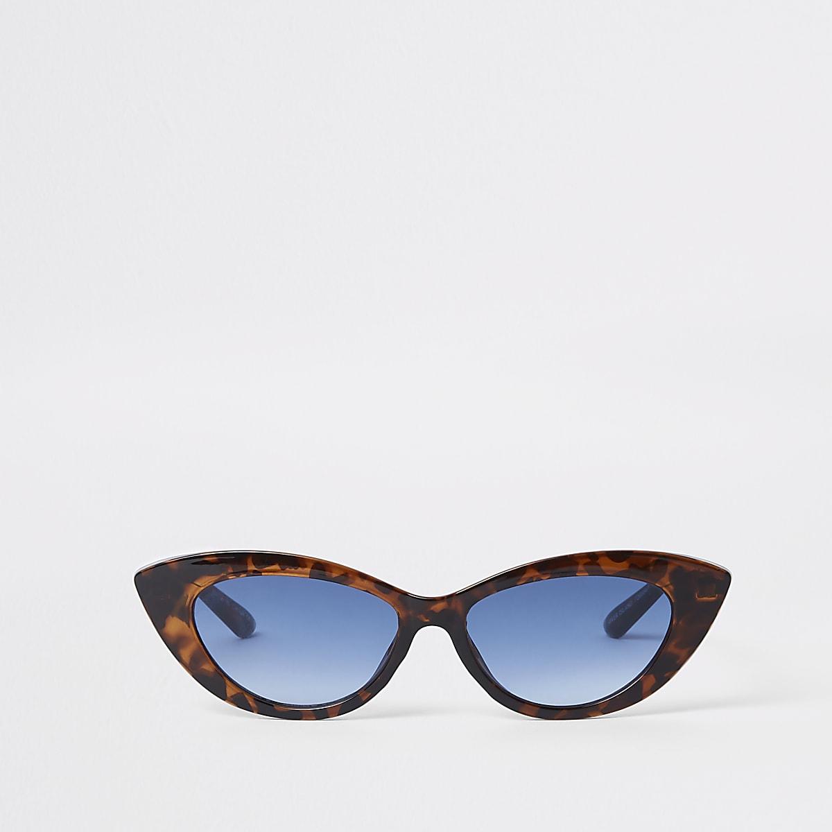 Brown tortoise shell print visor sunglasses