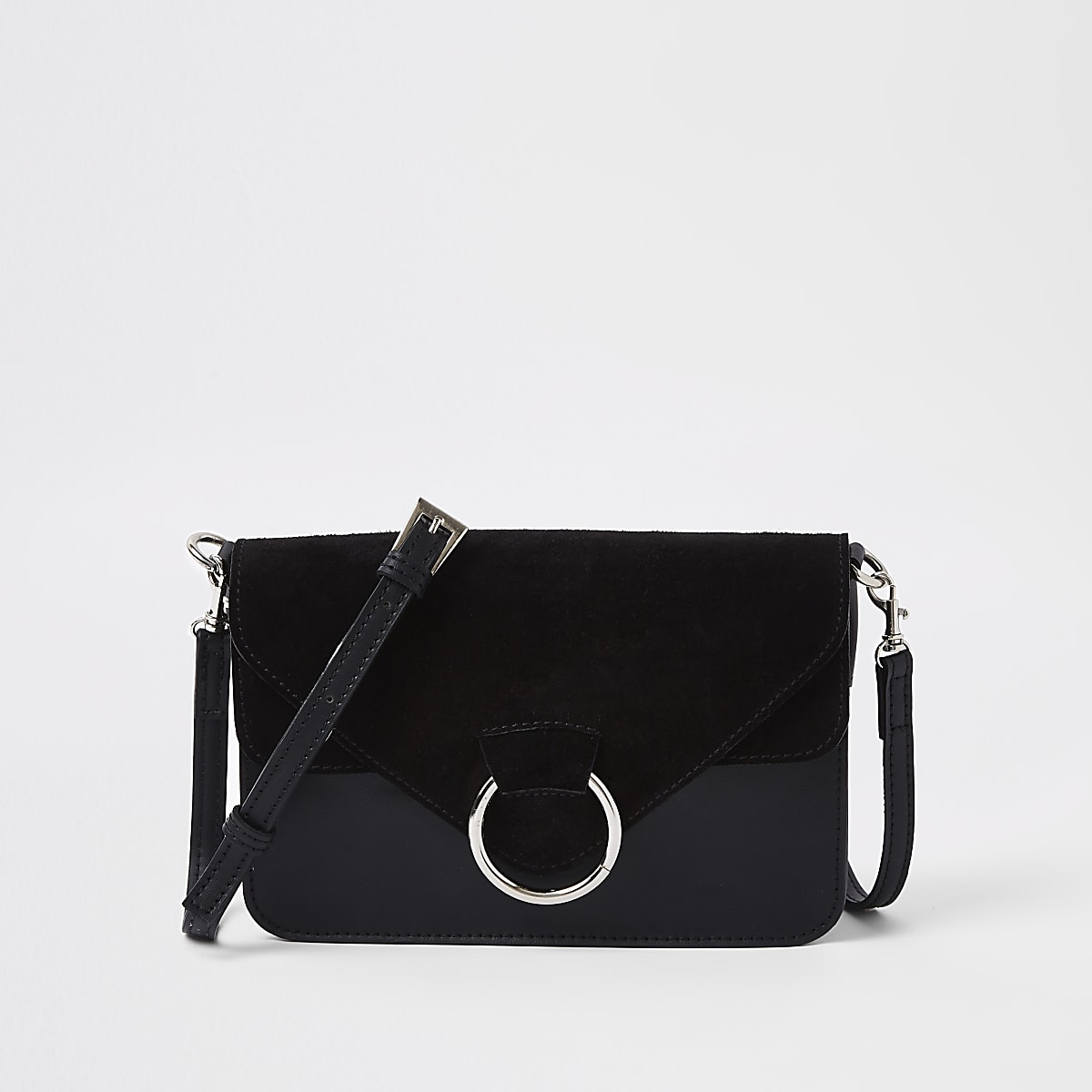 Black front hoop pocket cross body bag