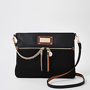 Zwarte messengertas met dubbele zak en ketting