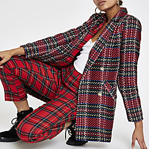 Red check tartan double-breasted jacket