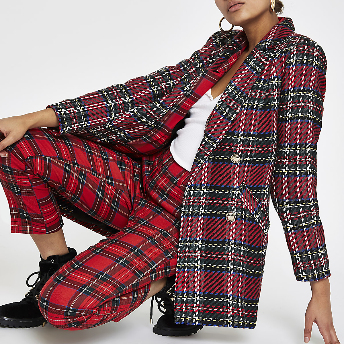 Red check plaid double-breasted jacket