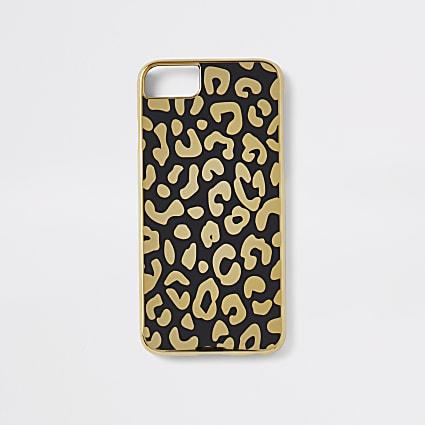 Gold leopard print iPhone case
