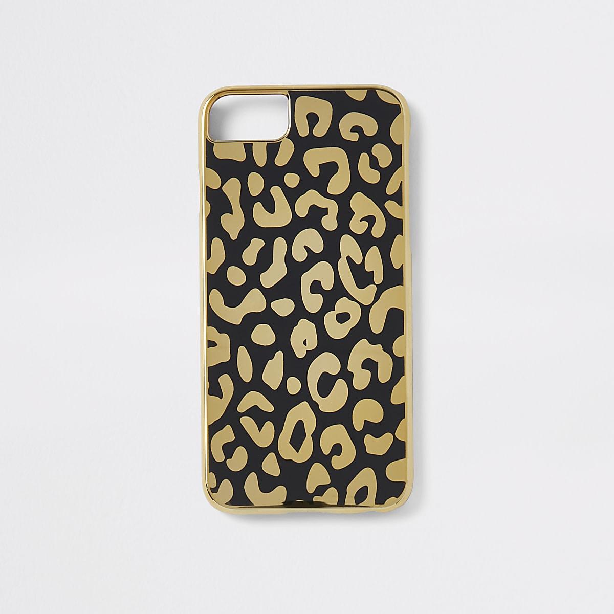 Goudkleurige hoes voor iPhone met luipaardprint