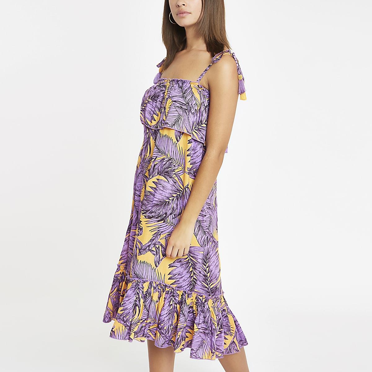 Robe de plage mi-longue oversize à imprimé feuilles violette