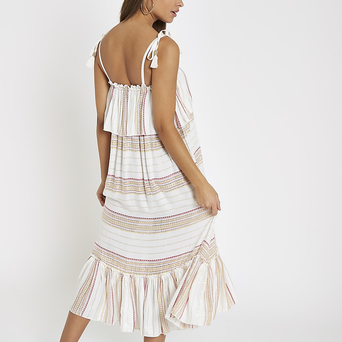e5a79bfc5934f Cream stripe oversized midi beach dress - Kaftans & Beach Cover-Ups -  Swimwear & Beachwear - women