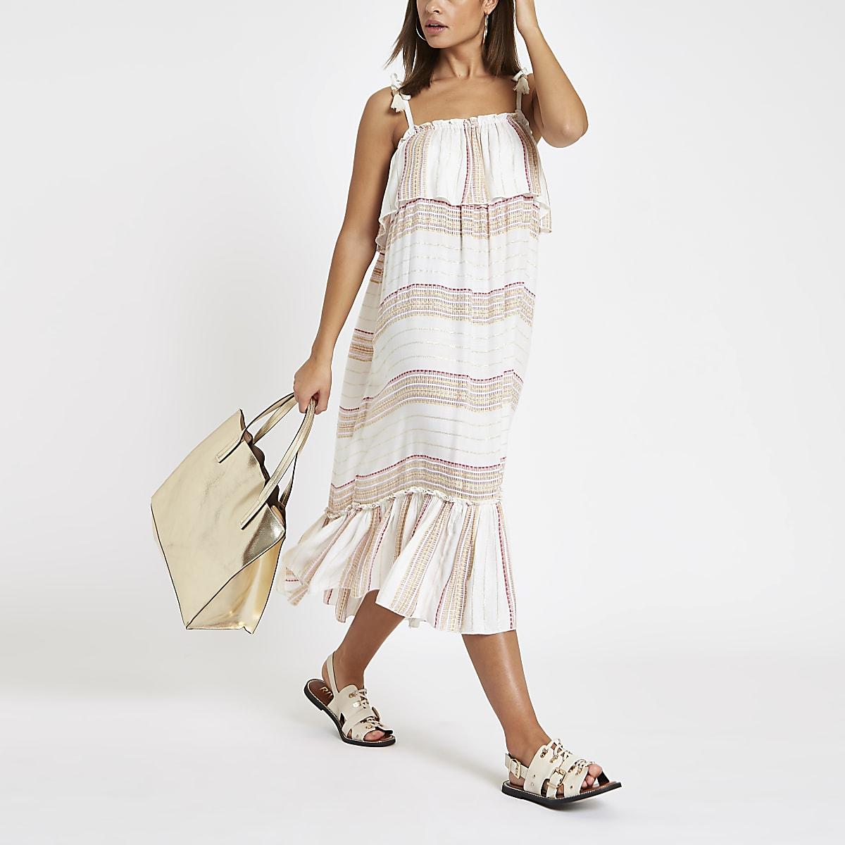 d4276215efff2 Cream stripe oversized midi beach dress - Caftans & Beach Cover-Ups -  Swimwear & Beachwear - women
