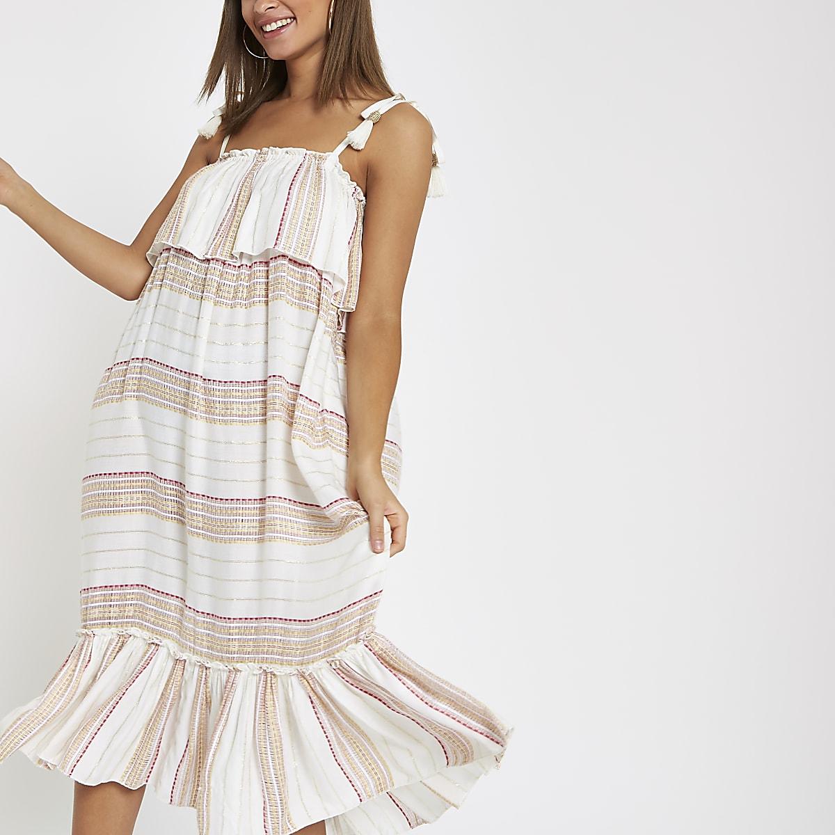 99074271cbf84 Cream stripe oversized midi beach dress - Kaftans & Beach Cover-Ups ...