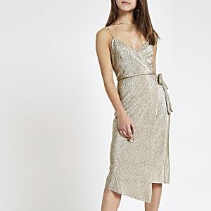 Petite gold plisse wrap midi dress