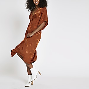 Orange knot front short sleeve midi dress
