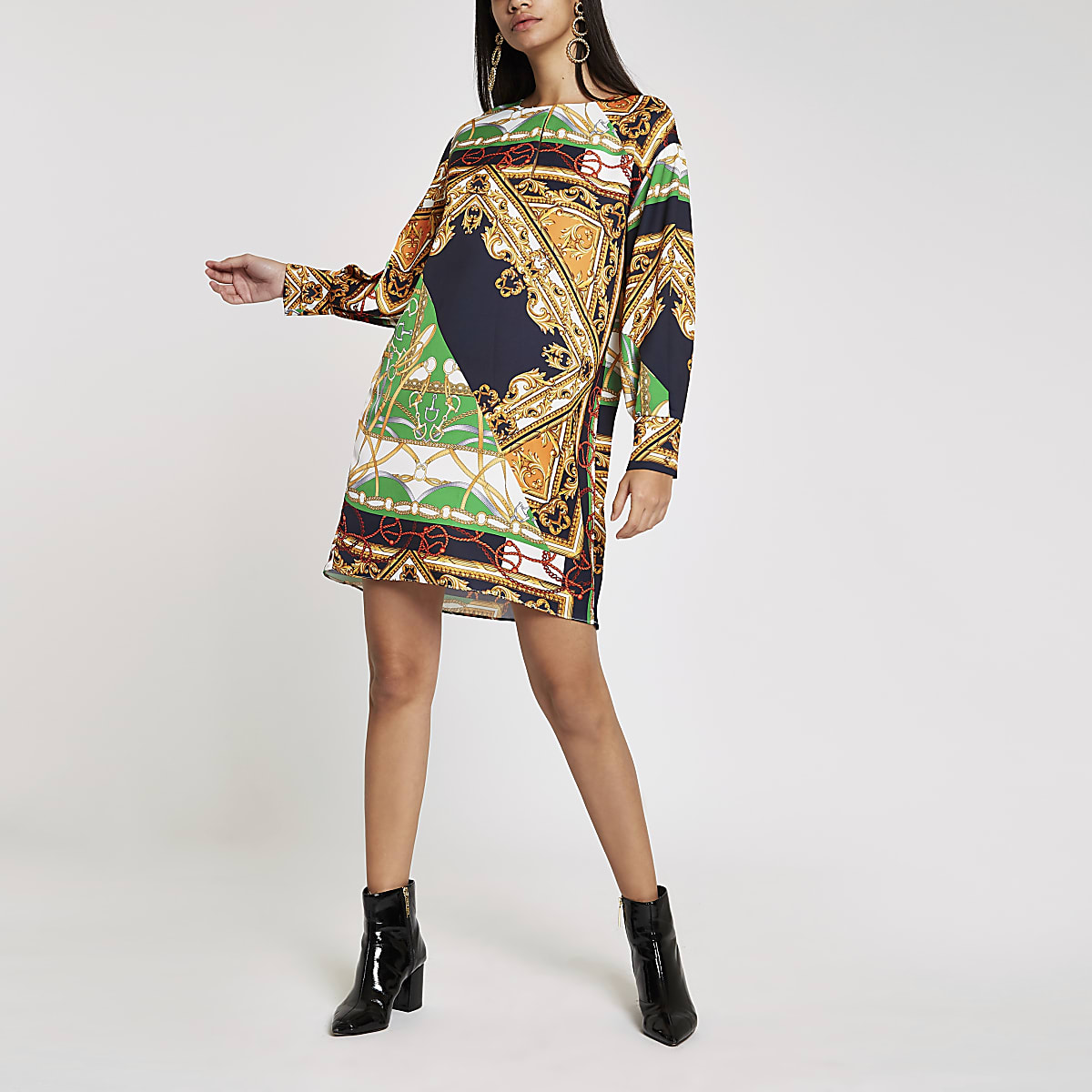 Navy baroque print long sleeve swing dress