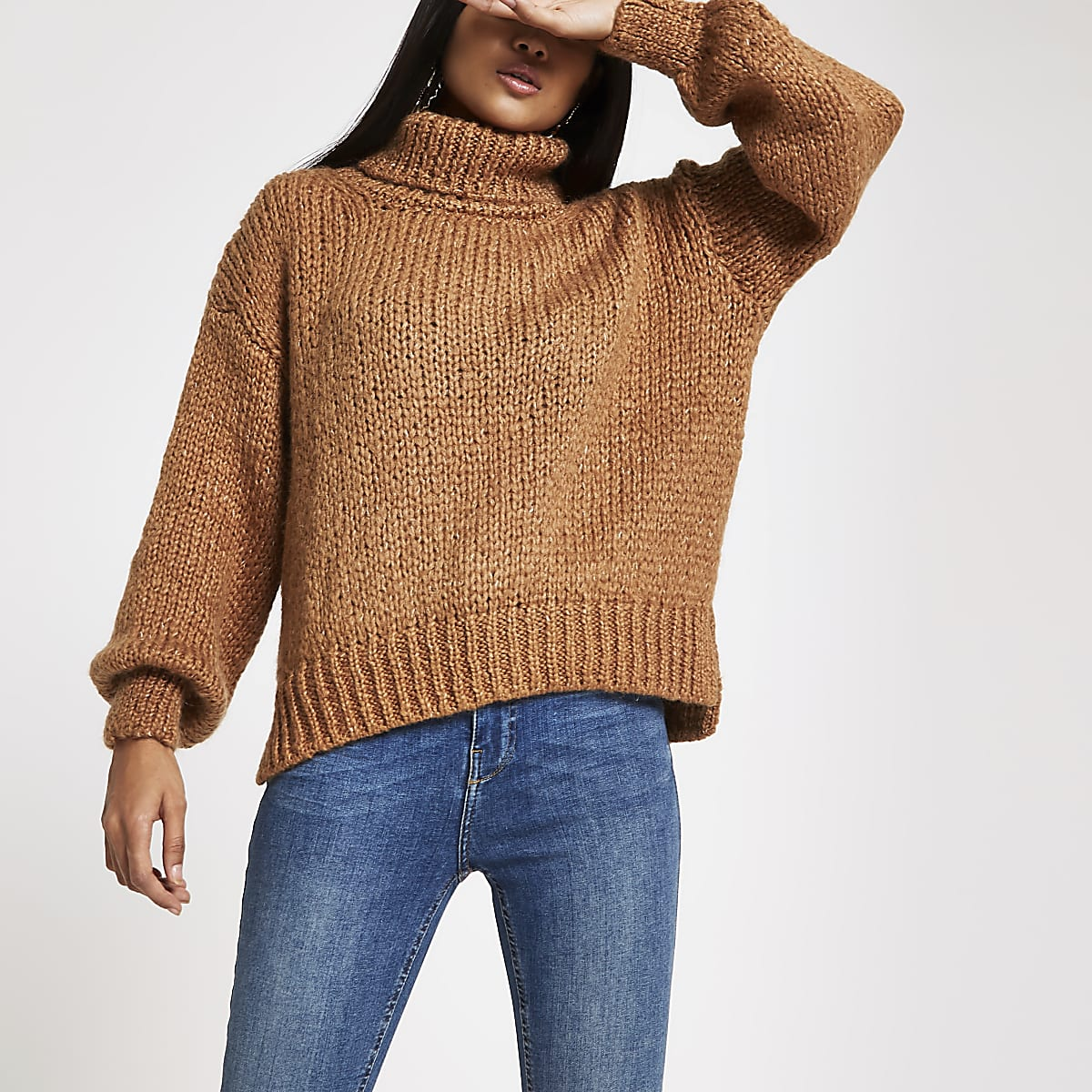 f162a26704b854 Petite beige roll neck chunky knit jumper - Knit Tops - Knitwear - women